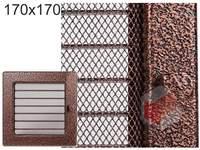Krbová mřížka stará měď - černoměděná s žaluzií 170x170