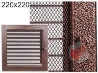 Krbová mřížka stará měď - černoměděná s žaluzií 220x220