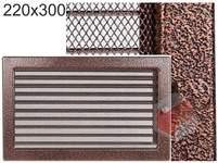 Krbová mřížka stará měď - černoměděná s žaluzií 220x300