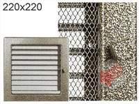 Krbová mřížka lakovaná černo-zlatá s žaluzií 220x220