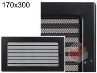 Krbová mřížka černá s žaluzií ČZ 170x300