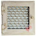 Krbová mřížka bílá antik RETRO 220x220 se žaluzií - otvíratelná