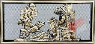 Krbová mřížka rustikální s motivem lovce