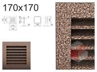 Krbová mřížka černo-měděná lamelová 170x170