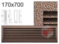 Krbová mřížka černo-měděná lamelová 170x700