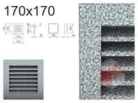 Krbová mřížka černo-stříbrná lamelová 170x170