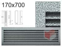 Krbová mřížka černo-stříbrná lamelová  170x700
