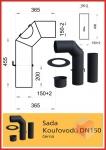Odkouření D150 - Thorma Kouřovod souprava 150 černá